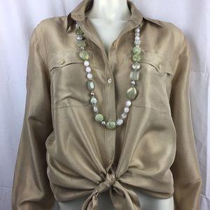 Lauren Ralph Lauren L 100% silk shirt amber gold